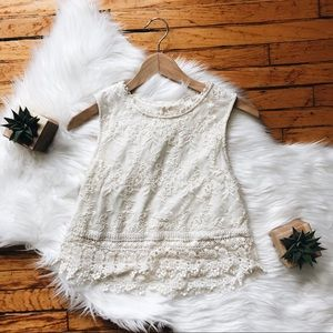 White Lace Forever21 Cream Lace Crop Top